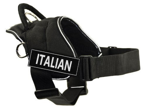 Dean & Tyler DT Fun Hundegeschirr, italienisch, Schwarz mit reflektierendem Rand, Größe L, passend für Körpergrößen von 81,3 cm bis 107,7 cm
