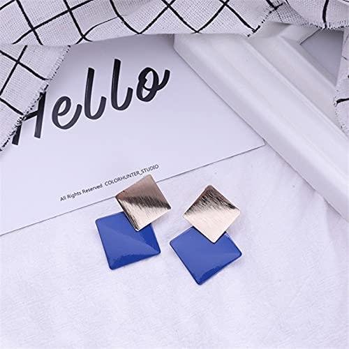 FEARRIN Pendientes Moda Diseño único Joyas Rombo Pendientes Colgantes de Dos Tonos deColor para Mujer Joyas Revestimiento Dorado Pendientes francesesRegalos para niñas Blueearringstud