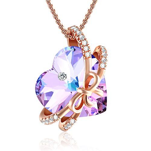 GEORGE · SMITH Eternity of Love Amethyst Crystal Necklace for Women Purple Love Heart Necklace with Crystals, Birthday Gifts for Women Mum Girlfriend
