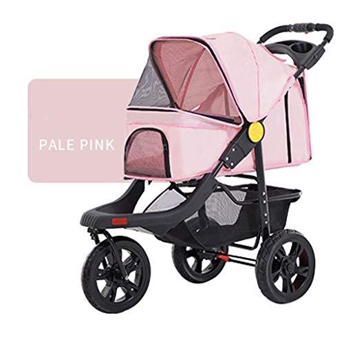 Leichte Hund/Katze/Pet Stroller Reisewagen mit Cabrio Compartment/Zipper-Less Entry / 1-Hand Quick Fold/Aluminium-Rahmen for kleine und mittlere Haustiere (Color : Pale Pink)