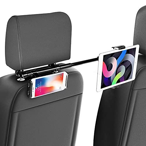 Supporto Tablet per Auto, SAWAKE Supporto Universale Poggiatesta Auto, Porta Tablet Regolabili con Doppia Posizione 4,7-12,9 Pollici Rotazione a 360 °, per iPad, Tablet, Smartphone e Kindle, ecc