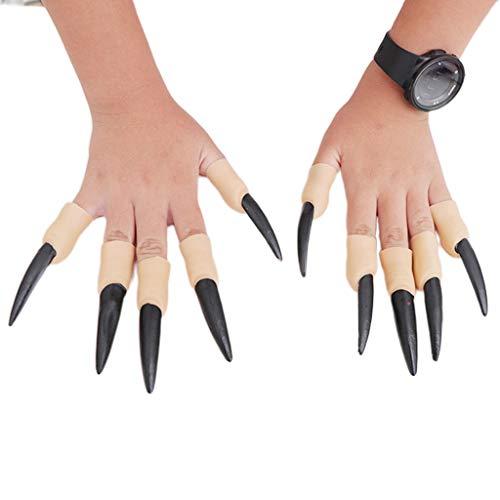 N/A. Juego de 10 uas falsas zombies para Halloween, con dedos falsos de bruja y vampiro, cubierta para dedos para mascaradas, Halloween y fiesta, juguete para cosplay