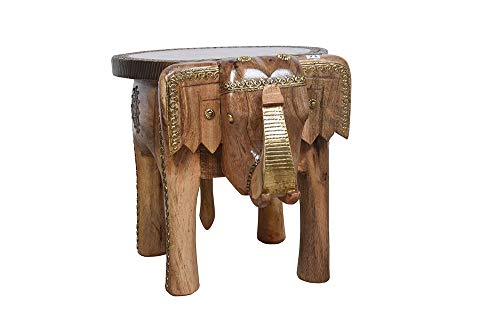 Rosmonte - Hand Carved Wooden Coffee Table - Wooden Elephant Side Table with Brass Column Accents