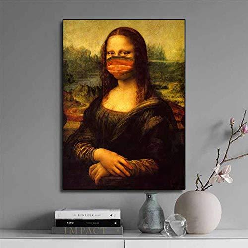 brandless Lustige Mona Lisa Ölgemälde Leinwand Poster und Drucke Wandkunst für Wohnzimmer Home Decor 60x80cm Kein Rahmen