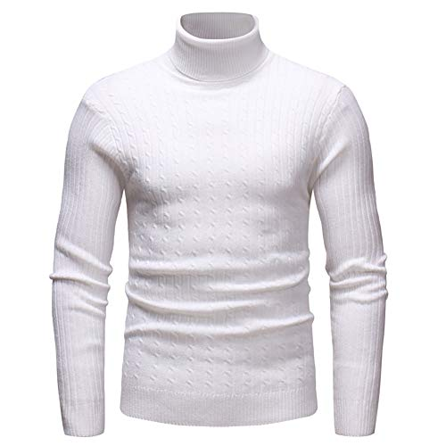NQY Men's Sweater Men Knitted Sweater High Collar Fine Knit Long Sleeve Slim Fashion All-Match Men Sweater Autumn and Winter Warm Simple Soft Fashion Men Sweater G-White. XL