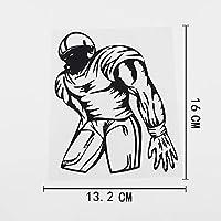 ステッカー剥がし 13.2CMX16CM防水フットボールプレーヤーカーステッカービニールステッカーブラック/シルバー ステッカー剥がし (Color Name : Black)