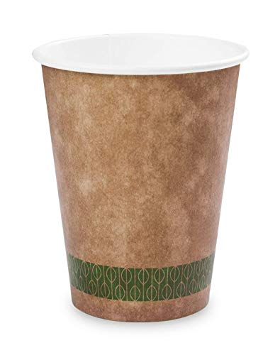 Plantvibes® 50 edle Bio Kaffeebecher, 100% kompostierbar, Pappbecher für Heißgetränke, Coffee to go