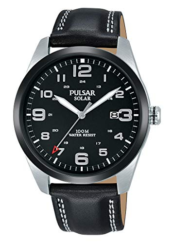 Pulsar Herren Analog Solar Uhr mit Leder Armband PX3191X1