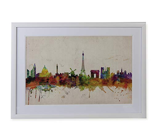 Quadro Gravura Paris Skyline Etna Multicor 50X70cm