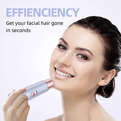 Leuxe - Rasoio elettrico da donna per depilazione viso, ricaricabile tramite USB, impermeabile, per rimuovere i capelli