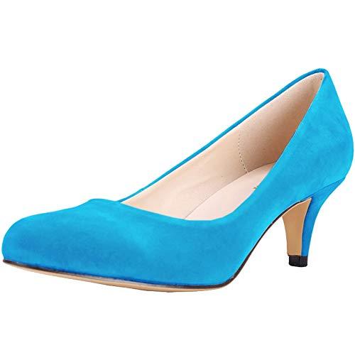 Renly Damen Wildleder-Pumps für Brautjungfer, maßgeschneidert, - hellblau - Größe: 38 EU