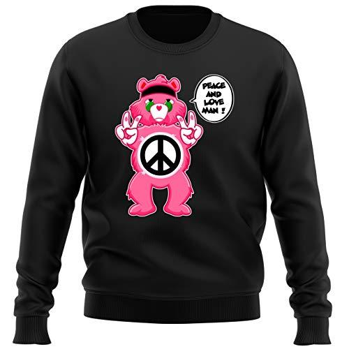 OKIWOKI Die Glücksbärchis Lustiges Schwarz Pullover - Die Glücksbärchis - Peace and Love Man - Hippie Version (Die Glücksbärchis Parodie) (Ref:343)
