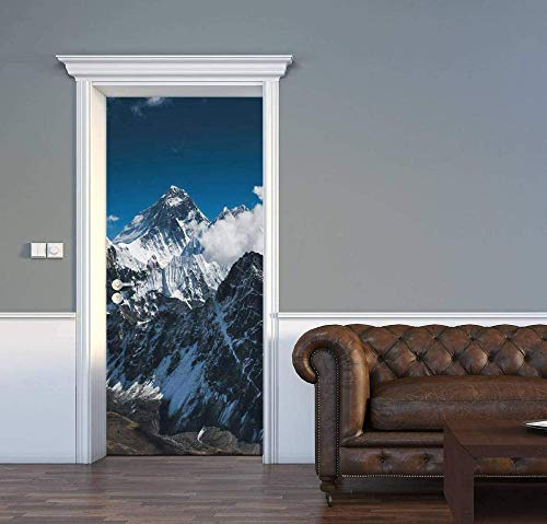 JJDSL Etiqueta de Puerta Vinilos para Puerta Pared Adhesivos Papel de Pared - Montaña nevada smog espectacular paisaje - 90x200 cm - para Cocina Baños Dormitorio Infantiles - 3D Autoadhesiva I