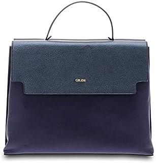 GIUDI ® - Borsa Donna in pelle vitello, vera pelle, borsa a mano, tracolla, Made in Italy. (Bluette/Blu)