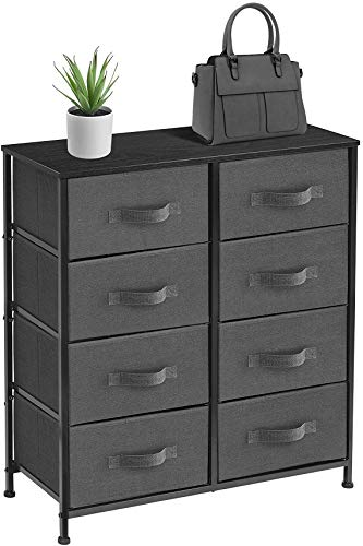 Sorbus Dresser with 8 Drawers - Furniture Storage Chest Tower Unit for Bedroom, Hallway, Closet, Office Organization - Steel Frame, Wood Top, Easy Pull Fabric Bins (Black/Charcoal) - 8-DRAWER DRESSER — Style meets function with our dresser chest, complete with a wood surface and storage drawers — Pairs beautifully with the Sorbus Foldable Furniture Collection DISPLAY & DE-CLUTTER — Wood top provides hard surface for displaying lamps, alarm clocks, books, eyeglasses, charging station, and more — Drawers great for storing clothes, blankets, linens, baby clothes, lingerie, purses, scarves, socks, accessories, gadgets, toiletries, cosmetics, hair/beauty products, paperwork, toys, knitting supplies, and household clutter FOR HOME, OFFICE, DORM — Suitable for bedroom, living room dresser, guest room, closet, nursery, hallway, , college dorm, small apartment solutions, etc — Can be used as dressers for bedroom, storage cube dresser, 5 drawer dresser, small closet dresser, storage chest, living room dresser, sofa end tables, office supply storage, kids nightstand, or baby nursery table — Complements most décor whether traditional, rustic, or modern - dressers-bedroom-furniture, bedroom-furniture, bedroom - 41fmdtgZykL -