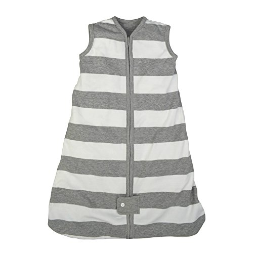 Burt's Bees Baby - Beekeeper Wearable Blanket, 100% Organic Cotton, Rugby Stripe Heather Grey (Small)