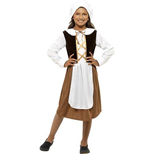 NET TOYS Bäuerin Kostüm Kinder Mittelalterkostüm M - 130-143 cm 7-9 Jahre Historische Verkleidung Tudor Mädchen Faschingskostüm Magd Mittelalter Maid Karnevalskostüm
