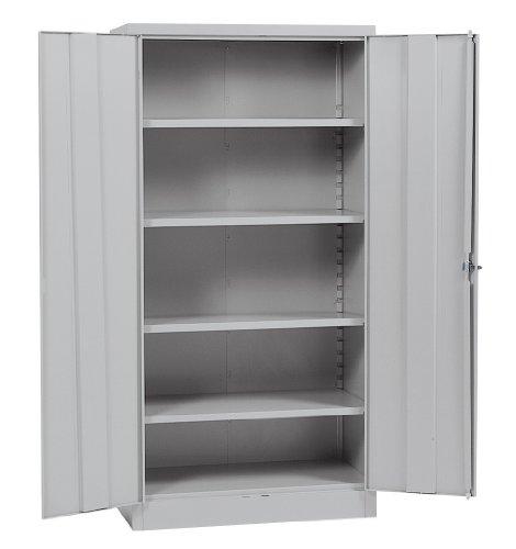 "Sandusky Lee RTA7000-05 Dove Gray Steel SnapIt Storage Cabinet, 4 Adjustable Shelves, 72"" Height x 36"" Width x 18"" Depth"