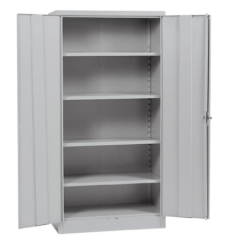 "Sandusky Lee RTA7000-05 Dove Gray Steel SnapIt Storage Cabinet, 4 Adjustable Shelves, 72"" Height x 36"" Width x 18"" Depth"