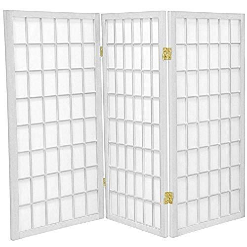 Oriental Furniture 3 ft. Tall Window Pane Shoji Screen - White - 3 Panels