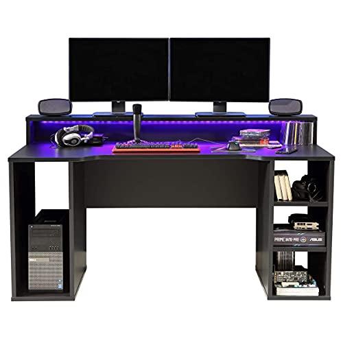 RestRelax - Simulator Gaming Desk, UK's #1 Gaming Desk With LED Lights 160CM x 91.5CM x 72CM Computer Desk Workstation For Large PC Or Home Office Desk Perfect Black Desk With Storage & LED