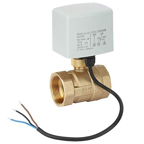 Válvula de bola motorizada, AC220V DN40 Válvula de bola motorizada eléctrica de latón, 2 vías, 1-1/2