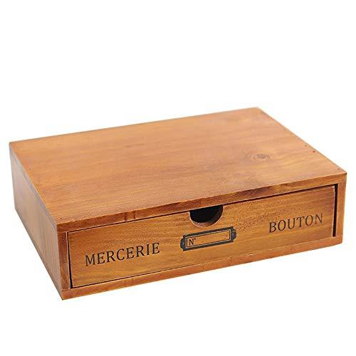 Baffect Desktop Schubladenbox Holz 1 Stöckig Aufbewahrungsbox mit Schubladen vintage Schmuckkästchen Holzkästchen Holzbox mit Schubfach Organizer holz Tischkommode zur Aufbewahrung, 1 Etage