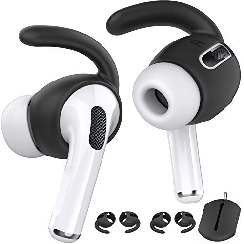 AhaStyle AirPods Pro Ear Hooks【Added Storage Pouch】 Anti-Slip Ear Covers Accessories【Not Fit in The Charging Case】 Compatible with Apple AirPods Pro(Black)