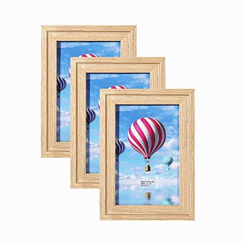 Metrekey 3er Bilderrahmen 10x15 cm Modern Natur Deko Fotorahmen für Foto Urkunden wandhängend oder freistehen 3stuck