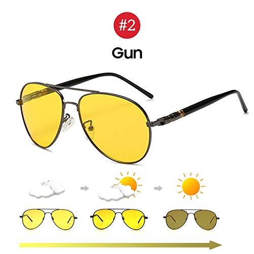 ERIOG Gafas de Sol Polarizadas Hombres Gafas de Sol fotocrómicas de visión Nocturna Gafas de Sol polarizadas Estilo piloto Aluminio Mujeres Gafas de Sol polarizadas de conducción Amarillo