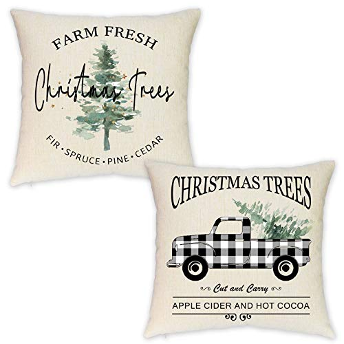 HEOFEAN Set of 2 Christmas Pillow Covers 18x18 Inches – Farmhouse Buffalo Check Truck Pillow Covers for Christmas Home Decor-Christmas Trees Decorative Pillow Covers for Couch