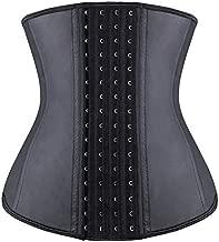 YIANNA Waist Trainer for Women Long Torso Tummy Control Fajas Colombiana Latex Waist Corsets Body Shaper Sports Girdle Belt 4 Row Hooks, YA11211-Black-M