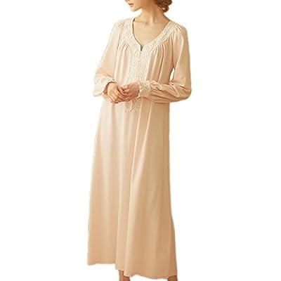 Women Victorian Nightgown Vintage Cotton Sleepwear Long Nightrobe Pajamas Loungewear
