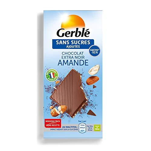 Gerblé Sans Sucres Ajoutés, Tablette de Chocolat Noir Amandes, Source de fibres, 80 g, 200938