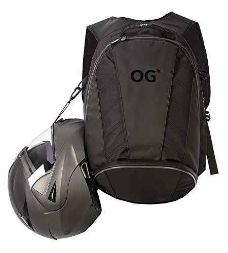 OG Online&Go EZ-RiderPRO Mochila Moto Negra Expandible 28-35L, Bolsa Porta-Cascos Motorista, Correa Casco, Impermeable, Portátil, Reflectante (Logo Negro)