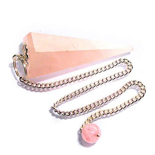 Péndulo cónico de Cristal para radiestesia y sanación - Gemas Naturales genuinas (Cuarzo Rosa)