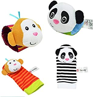 Infant Socks and Wrist Rattles Soft Toys Set of 4 (Panda and Monkey)