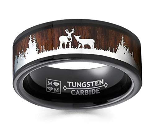 Metal Masters Co. Men's Black Tungsten Hunting Ring Wedding Band Wood Inlay Deer Stag Silhouette 11.5