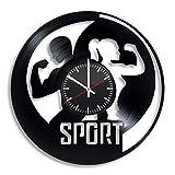 Sport Vinyl Record Clock Fitness Bodybuilding Wall Art Gym Room Decor Handmade Decoration Party Supplies Theme...