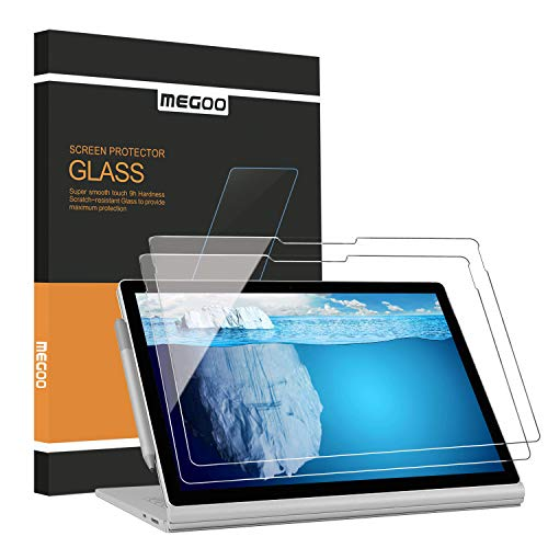 (2 Pack) Megoo Screen Protector for Surface Book 2/3 15 Inch, Tempered Glass/Easy Installation/9H, Compatible with Microsoft Surface Pen