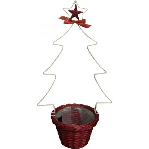 Arbre de Noël Décoration de Noël fabriqué à la Main Fleurs Arbre Noir Panier Marron 76 cm