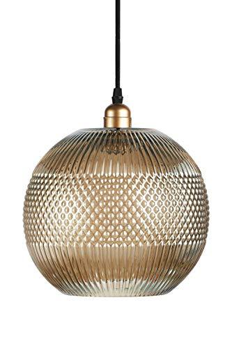 One Couture Design-Pendelleuchte Glashängeleuchte Deckenlampe Grau Kupfer Glas Goldgrau
