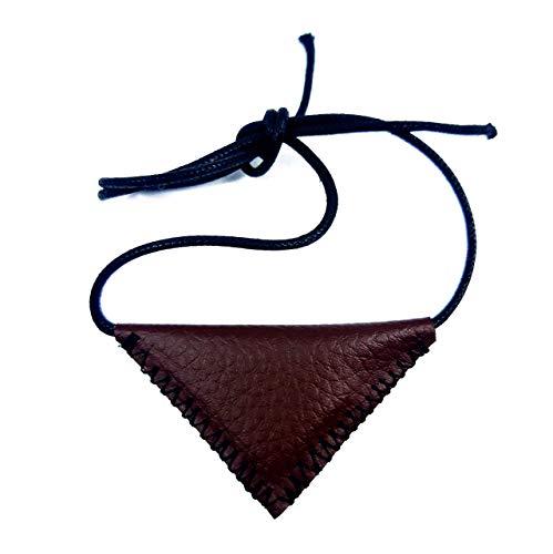 generisch Muska - Collar de piel sintética de color marrón oscuro con colgante de muhammad y amuleto, estilo islámico