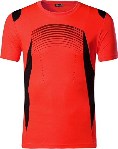 jeansian Herren Sport Tee Shirt T-Shirt Tshirt Tops Dry Fit Function Kurzarm Laufen LSL194 OrangeRed S