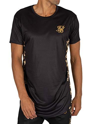 Sik Silk de los Hombres Camiseta de Dobladillo Curvo, Negro, M