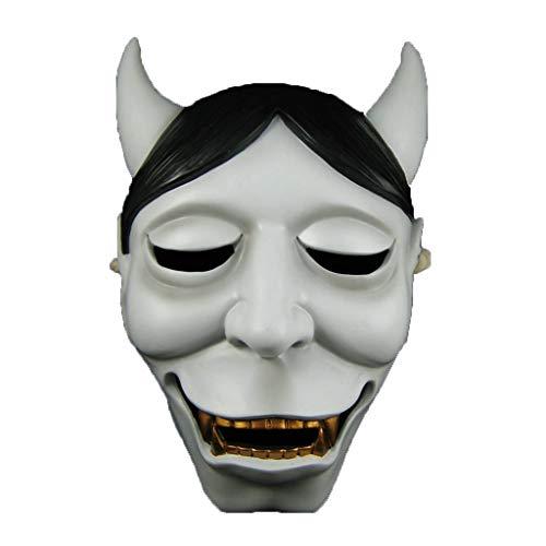 nihiug Demonio Zorro X Sirviente Fantasma Blanco casa NINFA Mariposa Cabeza Fantasma prajna máscara Japón Zorro Demonio máscara máscara de Halloween,White-OneSize