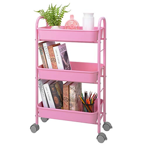 Simple Trending 3-Tier Metal Rolling Storage Cart, Utility Organizer Cart Storage Shelves with Plastic Basket on 2 Lockable Wheels for Kitchen Bathroom, Pink