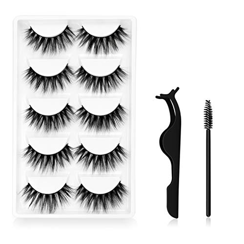 False Dramatic Eyelashes, Canvalite 3D Faux Mink Lashes for Makeup Eyelashes Extension, 5 Pairs False Lashes Dramatic with 1 Piece Eyelashes Clip and 10 Pcs Disposable Eyelash Brushes