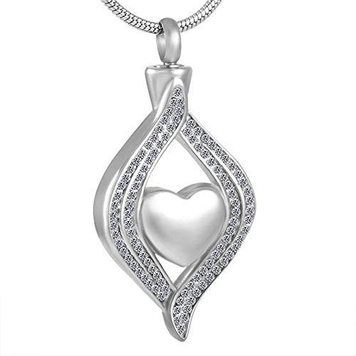 KBFDWEC Collares Colgantes de Ceniza de Diamantes de imitación Brillante de Acero Inoxidable Mujer Mujer niña