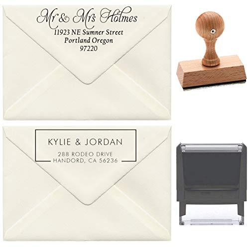 17+ Designs to Choose!! Customized Self Inking Return Address Stamp - Custom Address Stamper - Black Red Blue Purple Green Ink - Wedding Invitation Stamp